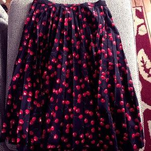 J Crew Cherry Pleated Skirt
